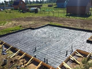 Заливка железо-бетонной монолитной плиты под строительство каркасного дома по проекту КД 055, д. Донцо, СНТ «Заповедное»