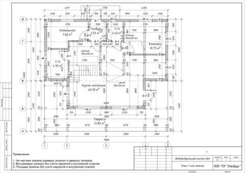 Каркасный дом в комплектации «С отделкой» по индивидуальному проекту, Волосовский район, д. Добряницы - План 1-ого этажа