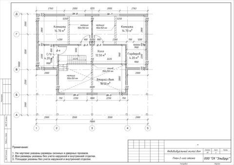 Каркасный дом в комплектации «С отделкой» по индивидуальному проекту, Волосовский район, д. Добряницы - План 2-ого этажа