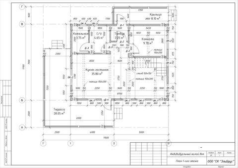 Каркасный дом в комплектации «С отделкой и инженерией» по проекту КД 033, СНТ «Фауна» - План 1-ого этажа