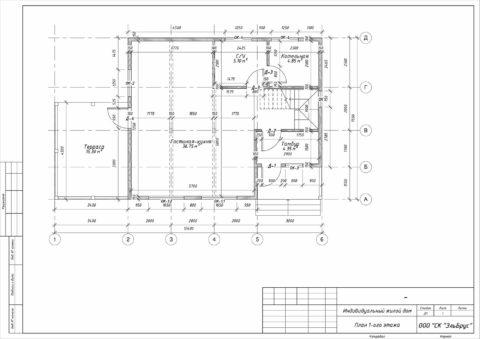 Каркасный дом по проекту КД 029, СНТ Фауна - План 1-ого этажа