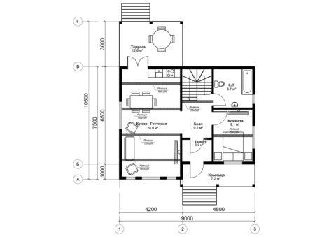Каркасный дом по проекту КД 052, Смоленская область, д. Щеченки - План 1-ого этажа