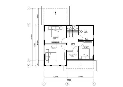 Каркасный дом по проекту КД 052, Смоленская область, д. Щеченки - План 2-ого этажа