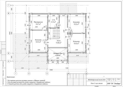 Каркасный дом по проекту КД 001, д. Раздолье - План 2-ого этажа