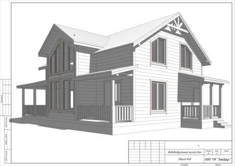 Каркасный дом по проекту КД 001, в д. Васкелово - Общий вид