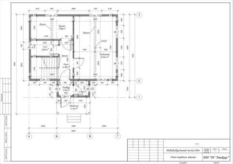 Каркасный дом по проекту КД 006 в комплектации «Закрытый контур», п. Владимировка - План 1-ого этажа