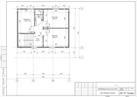 Каркасный дом по проекту КД 006 в комплектации «Закрытый контур», п. Владимировка - План 2-ого этажа