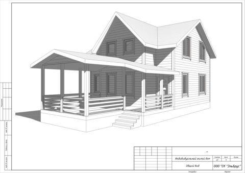 Каркасный дом по проекту КД 021 в комплектации «Под ключ», п. Мыза-Ивановка - Вид 1