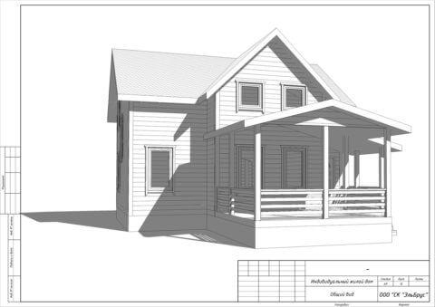 Каркасный дом по проекту КД 021 в комплектации «Под ключ», п. Мыза-Ивановка - Вид 3