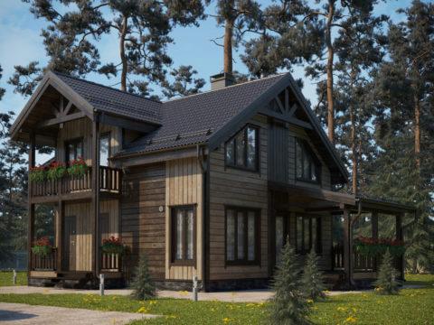 Проект каркасного дома ЭльБрус КД-032 - Общий вид