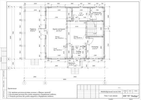 Каркасный дом по проекту Шале 004 в СНТ «КЭТ» - План 1-ого этажа