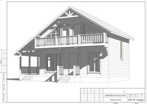 Каркасный дом по проекту Шале 004 в СНТ «КЭТ» - Общий вид 1