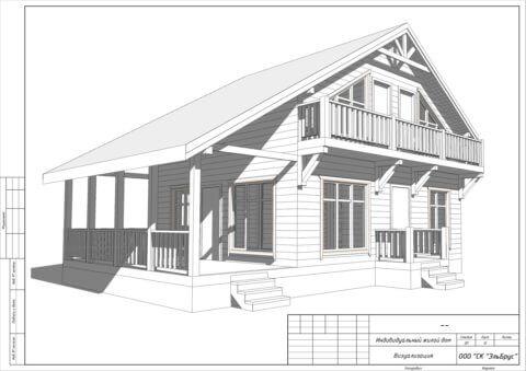Каркасный дом по проекту Шале 004 в СНТ «КЭТ» - Общий вид 2