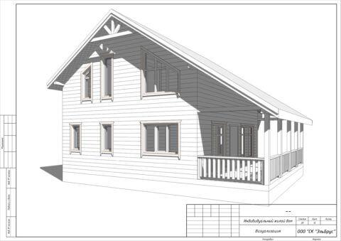Каркасный дом по проекту Шале 004 в СНТ «КЭТ» - Общий вид 3