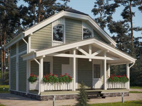 Проект каркасного дома ЭльБрус КД-006 с террасой - Общий вид