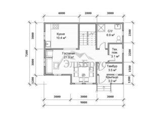 Каркасный дом ЭльБрус КД 015 - План 1-ого этажа