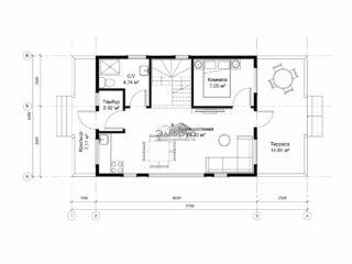 Проект каркасного дома КД-025 - План 1-ого этажа