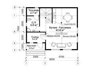 Проект каркасного дома ЭльБрус КД-031 - Планировка 1-ого этажа