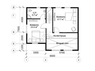 Проект каркасного дома ЭльБрус КД-031 - Планировка 2-ого этажа