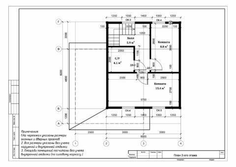 Каркасный дом по проекту ДД 006, Смоленская область, СНТ «ДРУЖБА» - План 2-ого этажа