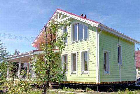 Строительство каркасного дома по проекту КД 033 в садовом массиве Мшинская, СНТ Дружба-1 в комплектации «С отделкой + Инженерный пакет»