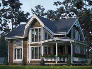 Проект каркасного дома ЭльБрус КД-034 - Общий вид