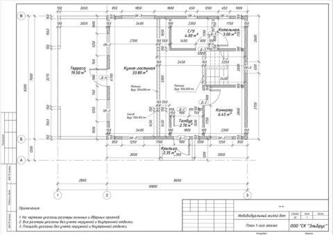 Каркасный дом по проекту КД 057, д. Лемболово, СНТ «Аист» - План 1-ого этажа