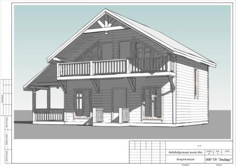 Каркасный дом по проекту КД 057, д. Лемболово, СНТ «Аист» - Общий вид