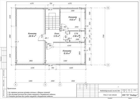 Каркасный дом в комплектации «Закрытый контур» по проекту КД 043, СНП «Северная Жемчужина» - План 2-ого этажа