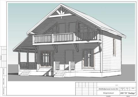 Каркасный дом по проекту КД 057, д. Низино - Общий вид