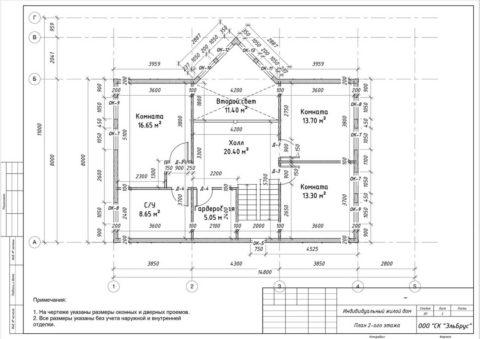 Каркасный дом в комплектации «С отделкой» + Инженерный пакет по проекту КД 065, СНТ «Рохма» - План 2-ого этажа