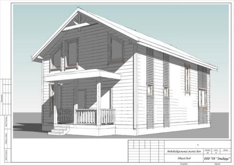 Каркасный дом в комплектации «С отделкой» + Инженерный пакет по проекту КД 065, СНТ «Рохма» - Общий вид