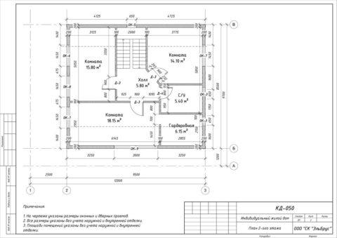 Каркасный дом в комплектации «С отделкой» по проекту КД 050, ДНП «Гранит» - План 2-ого этажа