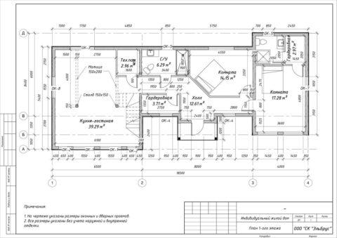 Каркасный дом в комплектации «С отделкой + Инженерный пакет» по проекту КД 060, СНТ «Фауна» - План 1-ого этажа