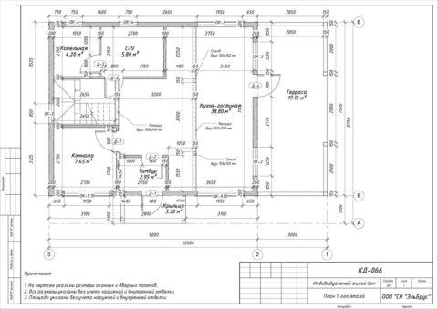Каркасный дом в комплектации «С отделкой» по проекту КД 066, СНТ «Фауна» - План 1-ого этажа