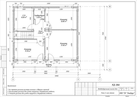 Каркасный дом в комплектации «С отделкой» по проекту КД 066, СНТ «Фауна» - План 2-ого этажа