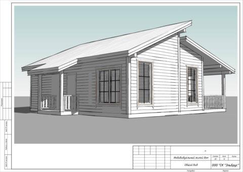 Каркасный дом по проекту КД 055 в д. Донцо, СНТ Заповедное - Общий вид