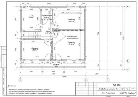 Каркасный дом по проекту КД 066 в СП Селезневское, массив «Кондратьевский» - План 2-ого этажа