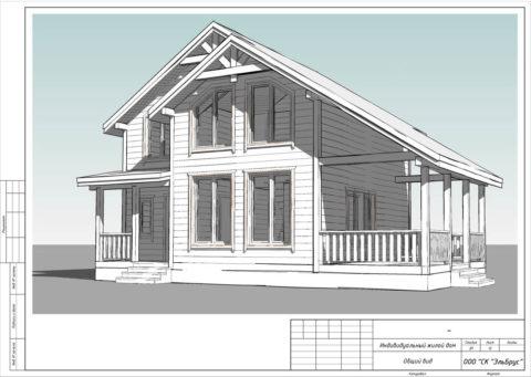 Каркасный дом по проекту КД 023 с террасой в комплектации «С отделкой + Инженерный пакет», ДНП «Сосновские Озера 2» - Общий вид