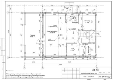 Каркасный дом в комплектации «Закрытый контур» по проекту КД 066, пос. Белоостров, ДПК «Поляна» - План 1-ого этажа