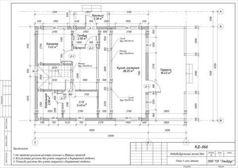Каркасный дом в комплектации «С отделкой + Инженерный пакет» по проекту КД 066, КП «Кавголовское Озеро» - План 1-ого этажа