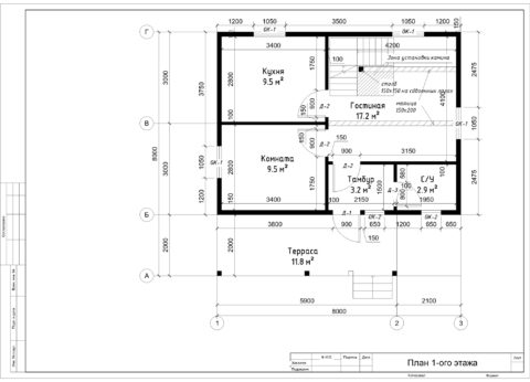 Каркасный дом в комплектации «С отделкой + Инженерный пакет» по проекту ДД 004, д. Михайловское - План 1-ого этажа