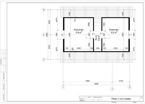 Каркасный дом в комплектации «С отделкой + Инженерный пакет» по проекту ДД 004, д. Михайловское - План 2-ого этажа