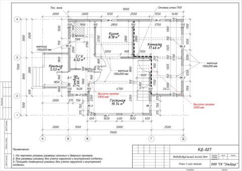 Каркасный дом в комплектации «С отделкой» + Инженерный пакет по проекту КД 027, ДНТ «Осельки» - План 1-ого этажа