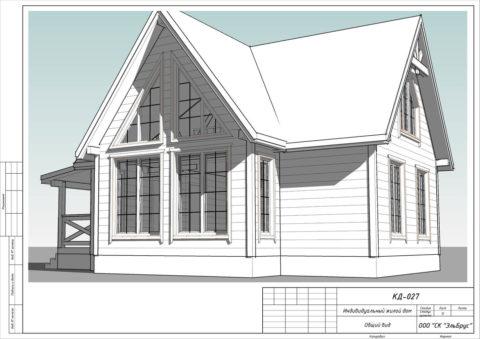 Каркасный дом в комплектации «С отделкой» + Инженерный пакет по проекту КД 027, ДНТ «Осельки» - Общий вид