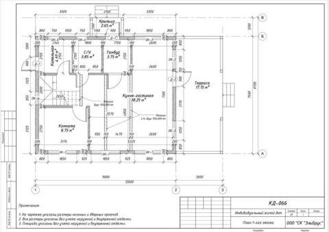 Каркасный дом в комплектации «С отделкой» по проекту КД 066, д. Керро - План 1-ого этажа