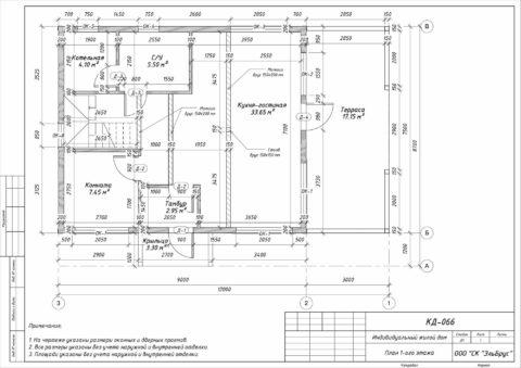 Каркасный дом по проекту КД 066 в ДНП «Сосновские Озера 2» - План 1-ого этажа