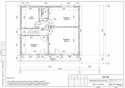 Каркасный дом по проекту КД 066 в ДНП «Сосновские Озера 2» - План 2-ого этажа
