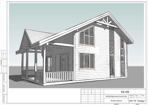 Каркасный дом по проекту КД 066 в ДНП «Сосновские Озера 2» - Общий вид