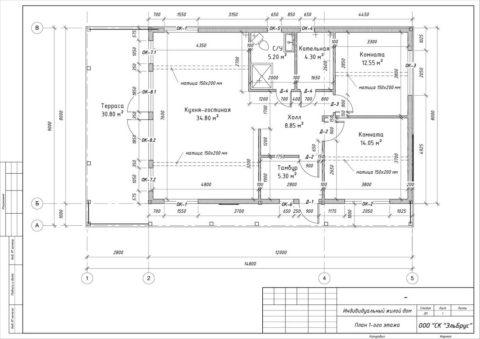 Каркасный дом по индивидуальному проекту в ДНТ «Коттеджный поселок ЗОЛОТЫЕ ПЕСКИ» - План 1-ого этажа